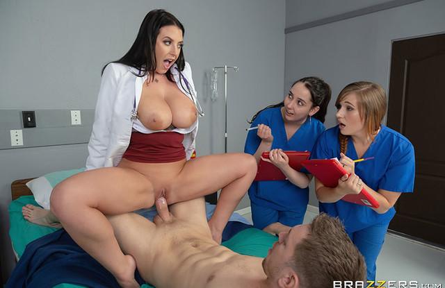 В больнице женщина-врач трахается с пациентом перед студентками